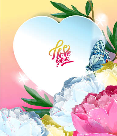 Delicate peony flowers with a heart symbol. A declaration of love. Blue, white, yellow, pink Archivio Fotografico - 129767130