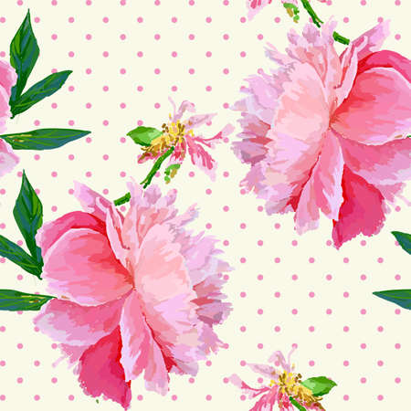A picturesque peony flower. Seasonal flower. Inflorescence and leaves. Hand drawing in a vector format.