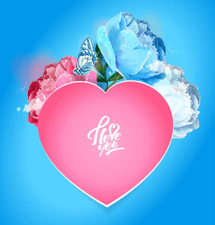 Delicate peony flowers with a heart symbol. A declaration of love. Blue, pink, white. Archivio Fotografico - 129767175