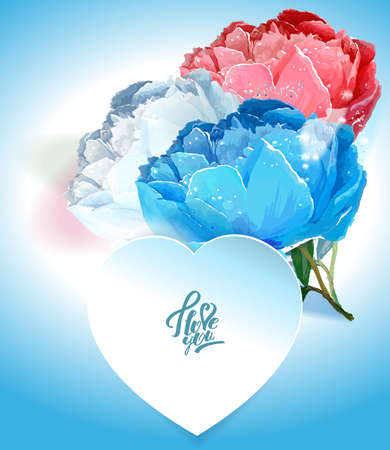 Delicate peony flowers with a heart symbol. A declaration of love. Blue, White,, Pink Archivio Fotografico - 129767182