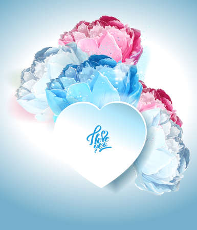 Delicate peony flowers with a heart symbol. A declaration of love. Blue, white, pink Archivio Fotografico - 129767187