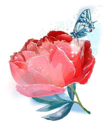 Flower and butterfly. Vector illustration. Red