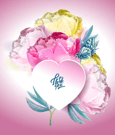 Delicate peony flowers with a heart symbol. Confession in love. Pink, white, yellow, blue Archivio Fotografico - 129767207
