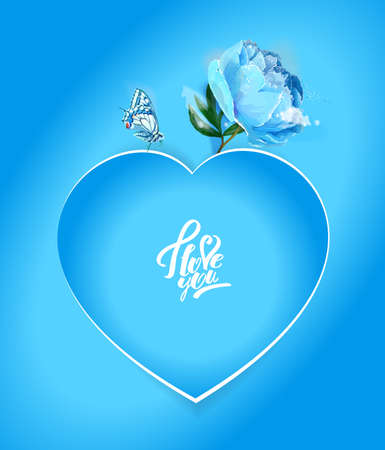 Delicate peony flowers with a heart symbol. A declaration of love. Blue Archivio Fotografico - 129767208