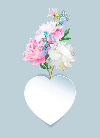 Peonies, forget-me-nots and a heart. Scenic image of a flower bouquet in vector.