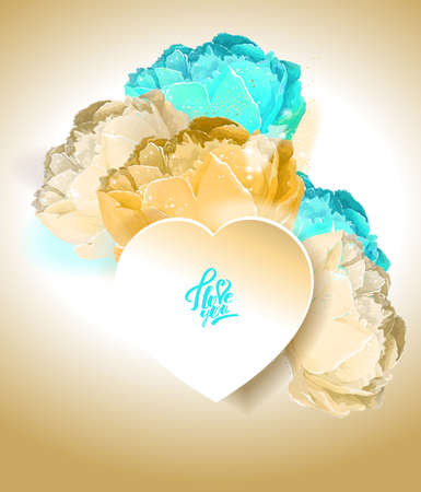 Delicate peony flowers with a heart symbol. A declaration of love. Blue, white, yellow,