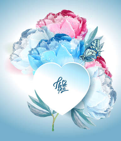 Delicate peony flowers with a heart symbol. A declaration of love. Blue, pink, white. Archivio Fotografico - 129767227