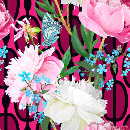 Peonies and forget-me-nots. Seamless background