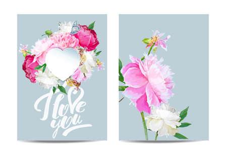 A picturesque peony flower. Template for banners, cards. Seasonal flower. Inflorescence and leaves. Hand drawing in a vector format. Фото со стока - 129767277