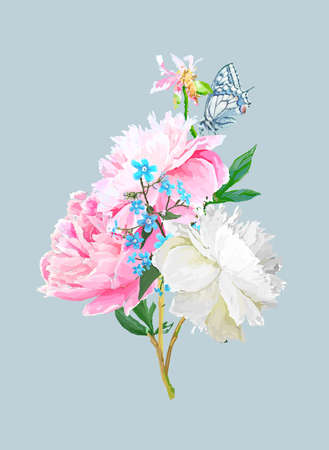 Peonies, forget-me-nots and a butterfly. Scenic image of a flower bouquet in vector. Иллюстрация
