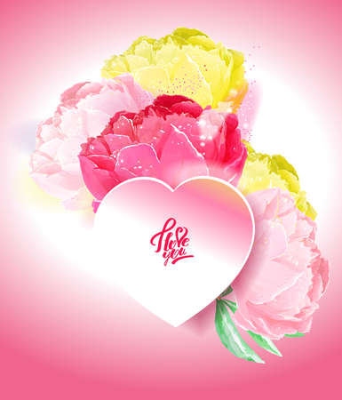 Delicate peony flowers with a heart symbol. A declaration of love.  white, yellow, pink