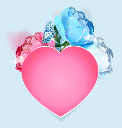 Delicate peony flowers with a heart symbol. A declaration of love. Blue, pink, white. Archivio Fotografico - 129767288
