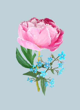 Peonies, forget-me-nots. Scenic image of a flower bouquet in vector.