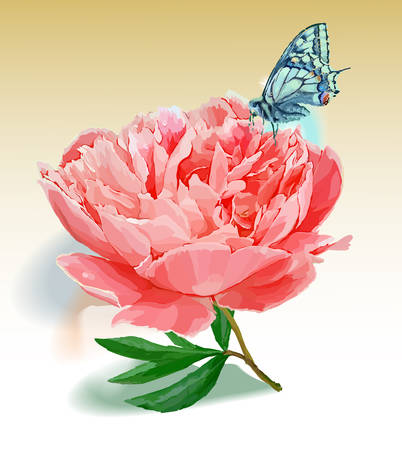 Flower and butterfly. Vector illustration. Red Vetores
