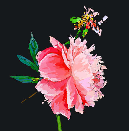 A picturesque peony flower. Seasonal flower. Inflorescence and leaves. Hand drawing in a vector format. Фото со стока - 129767306