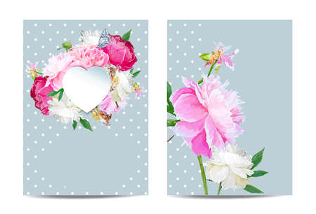 A picturesque peony flower. Template for banners, cards. Seasonal flower. Inflorescence and leaves. Hand drawing in a vector format.