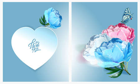 Delicate peony flowers with a heart symbol. A declaration of love. Blue, White,, Pink Archivio Fotografico - 129767329