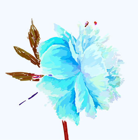 A picturesque peony flower. Seasonal flower. Inflorescence and leaves. Hand drawing in a vector format. Фото со стока - 129767333