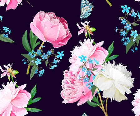 Peonies and forget-me-nots. Seamless background Фото со стока - 129767350