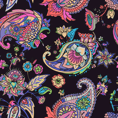 Paisley. A seamless pattern based on the traditional oriental paisley pattern or Turkish cucumber. Fabric, wallpaper, background