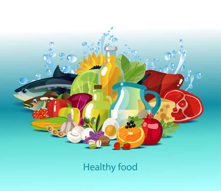 Healthy diet. Natural organic food - meat, dairy products, vegetables, fruits, oils. Colour