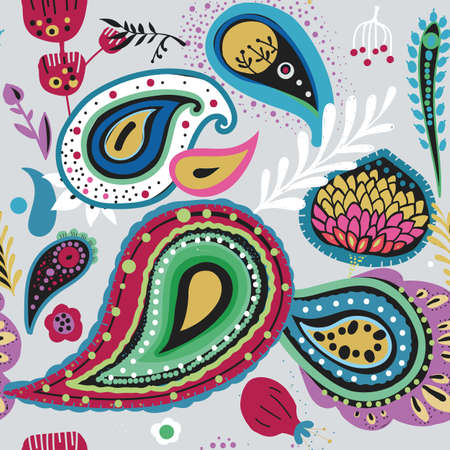 """Paisley. Bright seamless pattern based on the traditional eastern ornament """"Buta""""."""