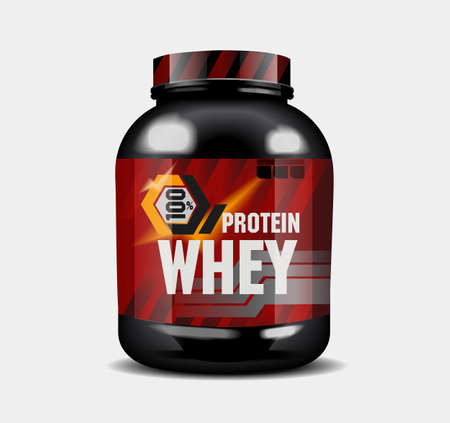 Sports nutrition - protein whey. Abstract model of a can of protein cocktail. Set 일러스트