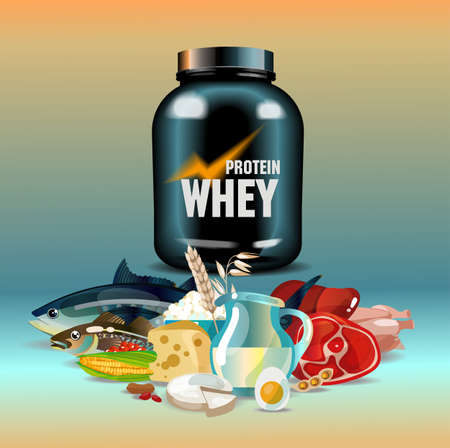 Protein nutrition - protein whey and foods rich in protein 일러스트