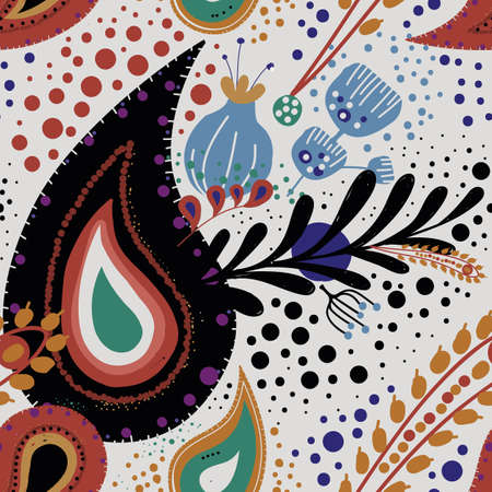 """Paisley. Bright seamless pattern based on the traditional eastern ornament """"Buta"""" with floral elements."""