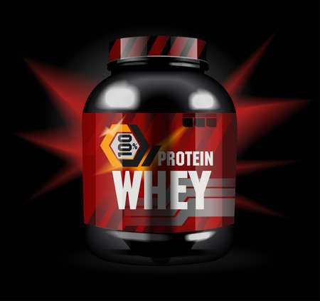 Sports nutrition - protein whey. Abstract model of a can of protein cocktail. Black background