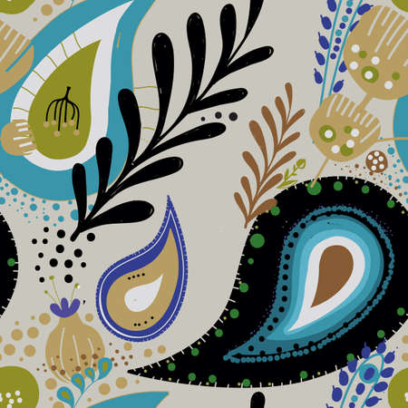 Paisley. Bright seamless pattern based on the traditional eastern ornament
