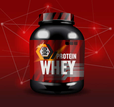 Sports nutrition - protein whey. Abstract model of a can of protein cocktail. Red background