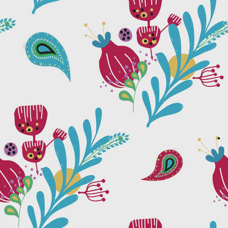 Floral seamless pattern with elements of paisley Illustration