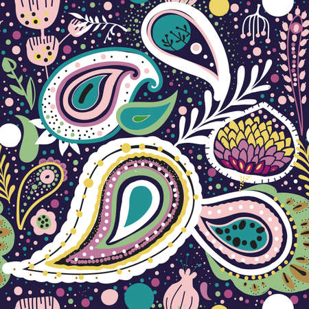 Paisley. A bright seamless pattern based on the traditional oriental ornament