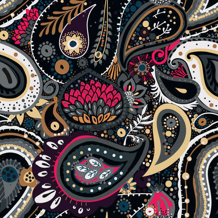 Traditional Asian Paisley pattern in modern design. Seamless pattern. Hand drawing - intentional slight negligence  イラスト・ベクター素材