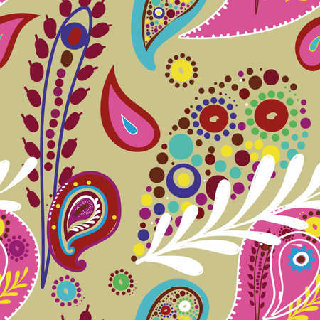 Seamless floral ornament with elements of trendy Asian pattern