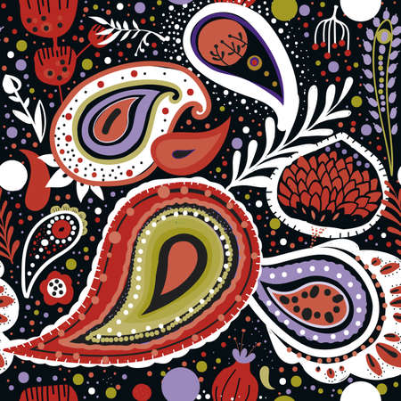 """Paisley. A bright seamless pattern based on the traditional oriental ornament """"Buta"""" (teardrop-shaped motif with a curved upper end)"""