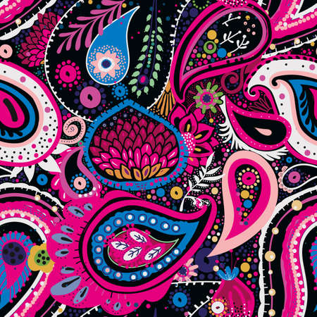 Traditional Asian Paisley pattern in modern design. Seamless pattern. Hand drawing - intentional slight negligence Illustration