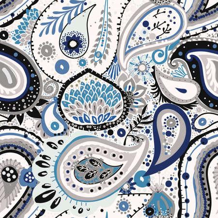 Traditional Asian Paisley pattern in modern design. Seamless pattern. Hand drawing - intentional slight negligence Illustration