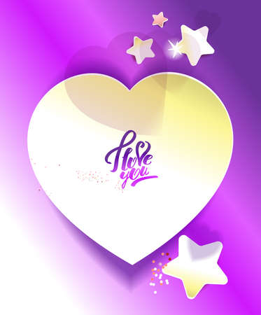 Sticker in the shape of heart. Gold and purple Ilustrace