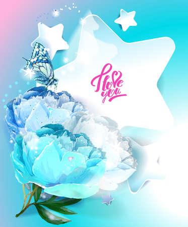 Template postcards. Star and peony. Reklamní fotografie - 129767488