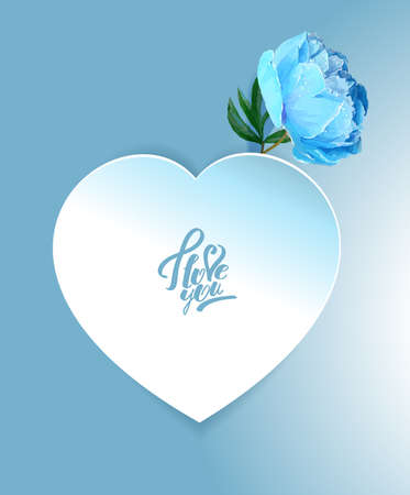 Delicate peony flower with a heart symbol. A declaration of love. Blue, White,, Pink