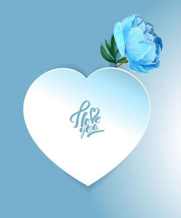 Fleur de pivoine délicate avec un symbole de coeur. Une déclaration d'amour. Bleu, Blanc,, Rose