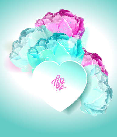 Delicate peony flowers with a heart symbol. A declaration of love. Blue, white, pink Reklamní fotografie - 129767515