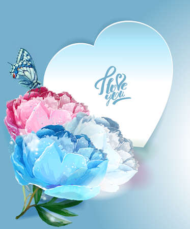 Delicate peony flowers with a heart symbol. A declaration of love. Blue, White,, Pink Reklamní fotografie - 129767516