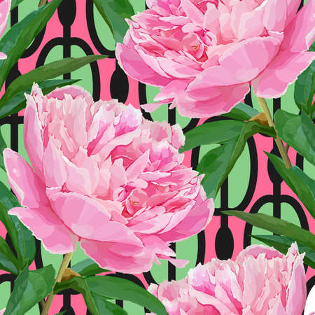 Seamless pattern with peonies Stock Illustratie