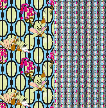 Trendy floral seamless pattern in vintage style for wallpaper or fabric. Lilies, phlox and graphic ornament. Complementary kit, a combination of patterns. Style sixties Illustration