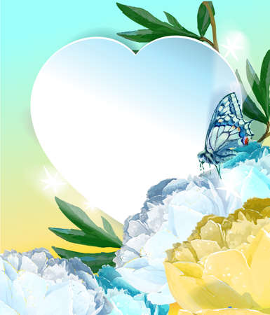 Delicate peony flowers with a heart symbol. A declaration of love. Blue, white, yellow, pink