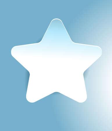 Star sticker. Blue and white