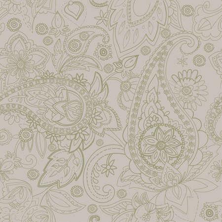 "Textile seamless contour pattern ""Paisley"""